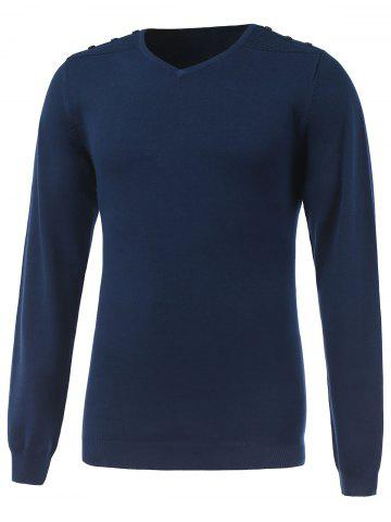 V Neck Long Sleeve Rib Cuff Knitwear