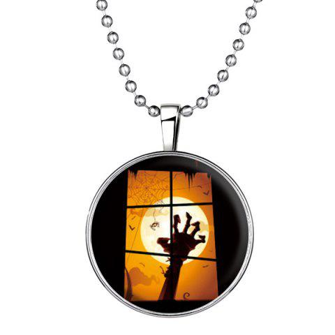Bat Hand Pattern Pendant Halloween Necklace - Silver - One Size