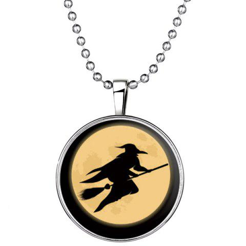 Unique Fly Besom Witch Pendant Halloween Necklace SILVER