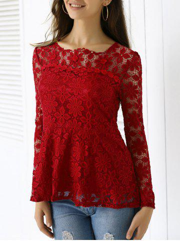 Elegant Applique Solid Color Top For Women - Wine Red - Xl