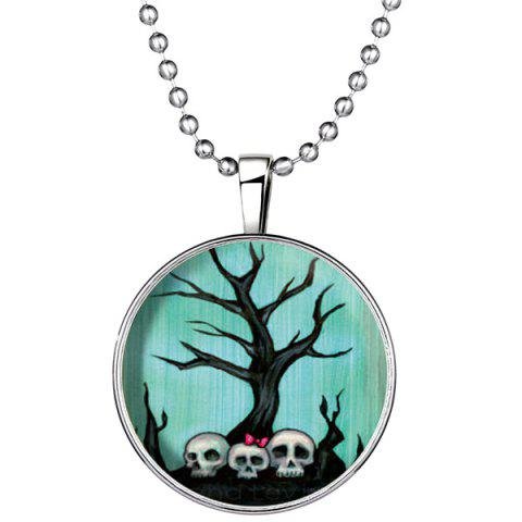 Hot Tree Bows Skulls Pendant Halloween Necklace