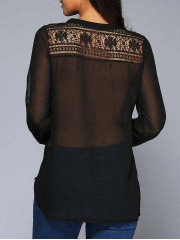 Discount See-Through Lace Insert Chiffon Blouse