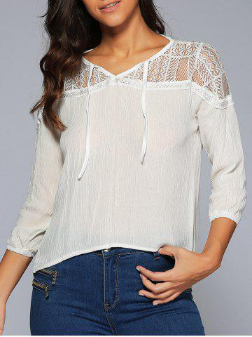 New Asymmetrical Lace Insert Blouse