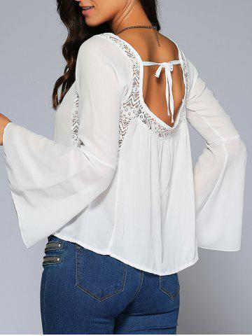 Chic Bell Sleeve Lace Insert Open Back Blouse