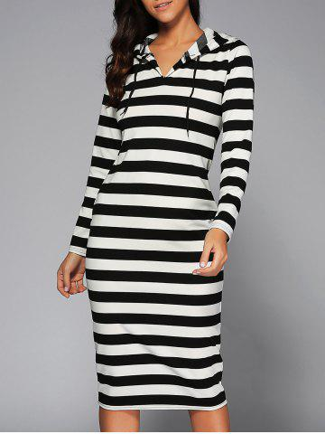 Hot Hooded Striped Slimming Dress