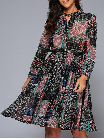 Affordable Ornate Printed Button Design Dress COLORMIX XL