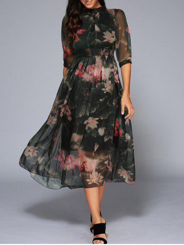 Latest Empire Waist Floral Print Ruched Dress