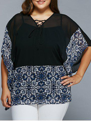 Buy Plus Size Lace-Up Batwing Sleeve Blouse