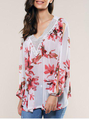 Discount Lace Splicing Slit Sleeve Blouse