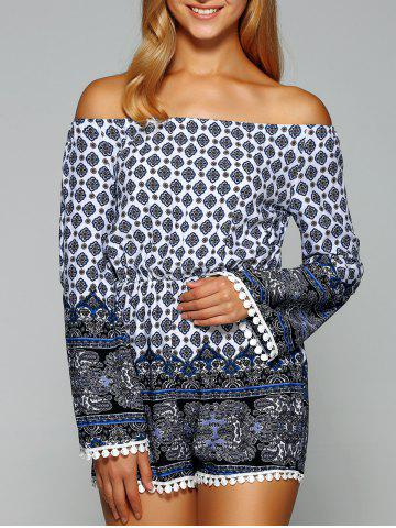 Chic Off The Shoulder Ornate Printed Romper