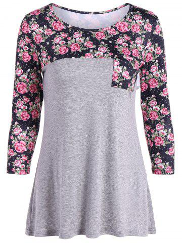 Cheap Casual Patch Pocket Floral T-Shirt