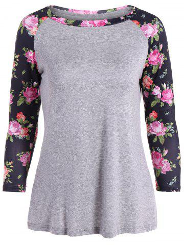 Buy 3D Floral Raglan Sleeve T-Shirt