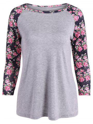 Fancy Raglan Sleeve Floral Tee - L GRAY Mobile