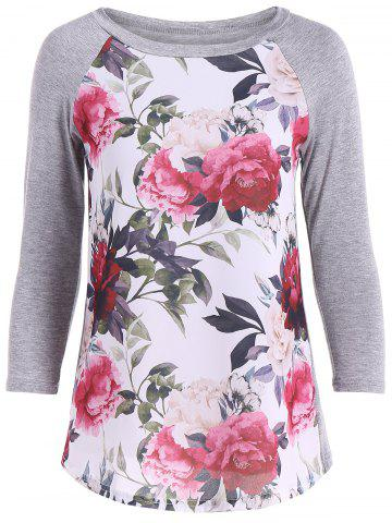 Cheap Flower Print 3D Raglan Sleeve T-Shirt