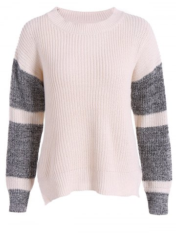 Latest Raglan Sleeve Color Block High Low Sweater