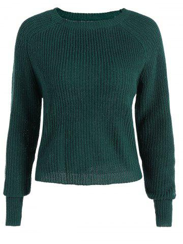 Casual Raglan Sleeve Short Sweater - Blackish Green - One Size