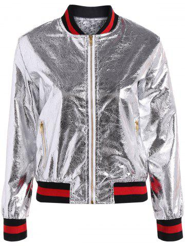 Hot Slim Zipper Fly PU Bomber Jacket