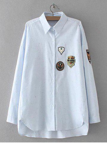 Latest Applique Embroidered Asymmetric Shirt