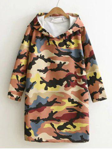 Best Camouflage Print Hooded Sweatshirt Dress PASTER ORANGE XL