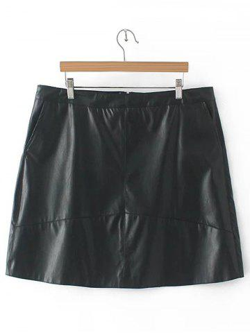 Slim Zipper Flying PU Leather Skirt - BLACK 4XL