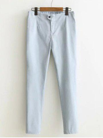 Store Buttoned High-Waisted Plus Size Slim Pants LIGHT GRAY 4XL