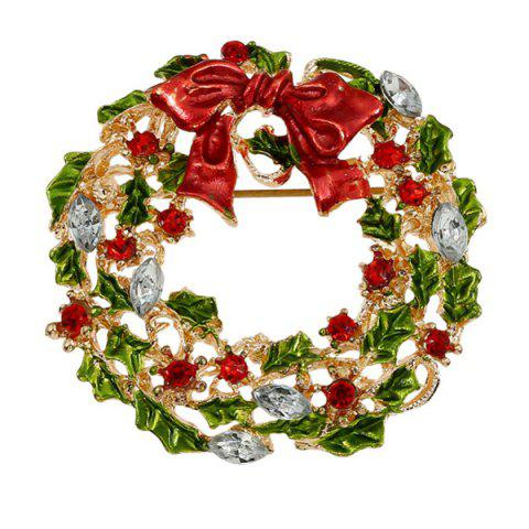 Affordable Enamel Bowknot Wreath Christmas Brooch - RED  Mobile