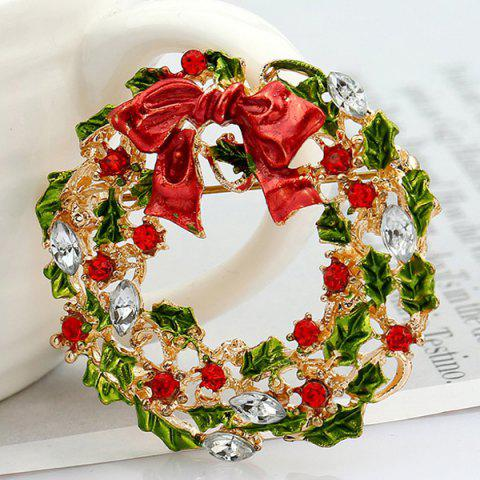 New Enamel Bowknot Wreath Christmas Brooch - RED  Mobile