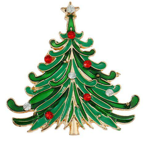 Trendy Enamel Christmas Tree Brooch GREEN