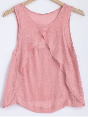 Chic Round Neck Layered Cut Out Tank Top