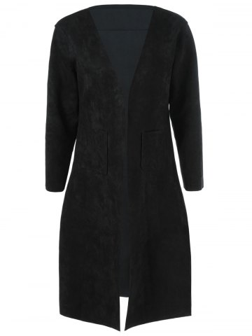 Chic Collarless Double Pockets Coat