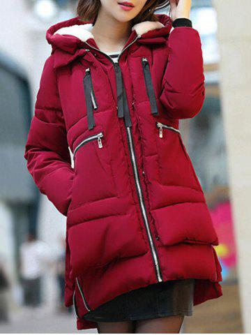 Discount Hooded Puffer Coat WINE RED 3XL