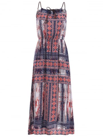 Discount Braided Strap Printed Maxi Dress