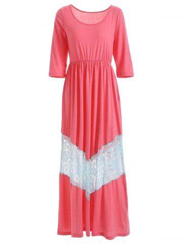 Sale Scoop Neck Lace Trimmed Maxi Dress
