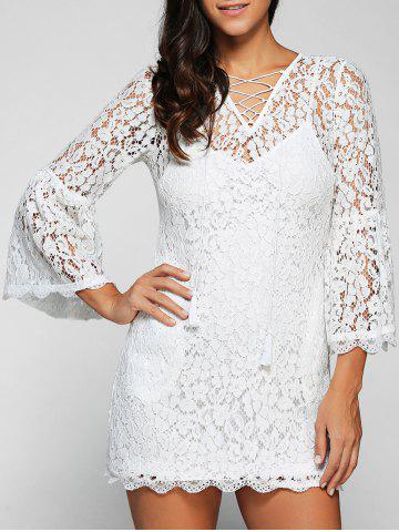 Buy V Neck Flare Sleeve Cut Lace Dress Cami Women's Twinset - White 2XL