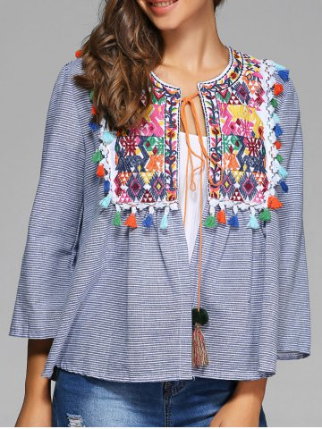 Chic Colorful Embroidery Striped Tie Blouse