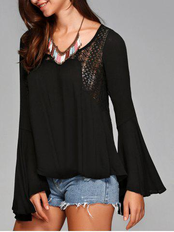 Affordable Asymmetrical Bell Sleeve Openwork Blouse