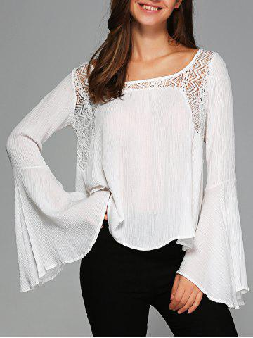 Fancy Asymmetrical Bell Sleeve Openwork Blouse