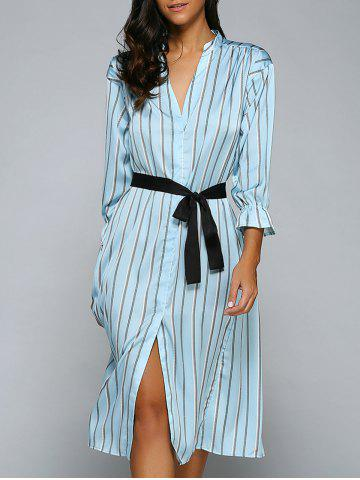 Online Striped Front Slit Midi Dress With Pockets