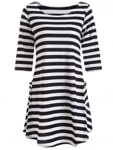 Chic Casual A Line Pocktes Striped Dress