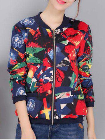 Trendy Colorful Pattern Bomber Jacket