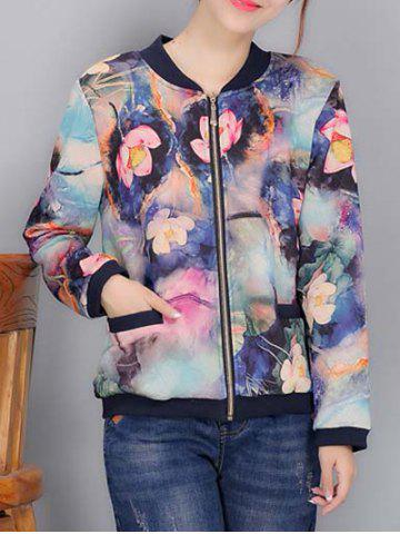 Affordable Colorful Floral Print Bomber Jacket