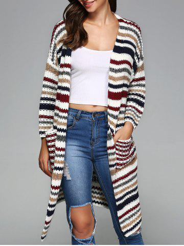 Store Colorful Striped Double Pockets Cardigan