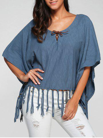 Shops Scoop Neck Tassels Batwing Sleeve T-Shirt