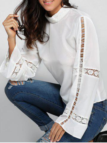 Shop Flare Sleeve Crochet Trim High Neck Blouse