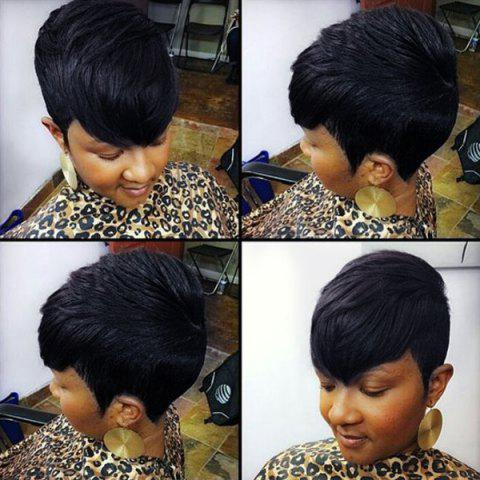 Store Spiffy Short Side Bang Pixie Cut Straight Capless Human Hair Wig