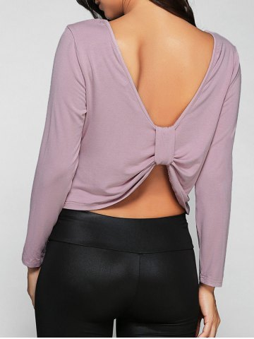 Affordable Long Sleeves Open Back T-Shirt LIGHT PURPLE 2XL