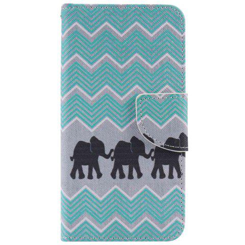 Affordable Wave Elephant PU Wallet Design Phone Case For iPhone 7 Plus