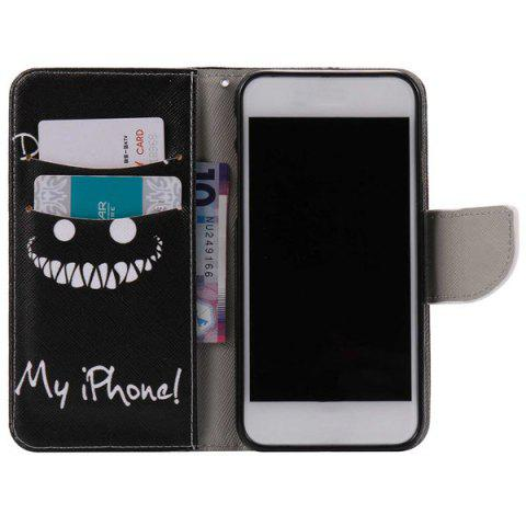 New Teeth Letter PU Wallet Design Phone Case For iPhone 7 - BLACK  Mobile