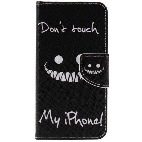 Outfits Teeth Letter PU Wallet Design Phone Case For iPhone 7 - BLACK  Mobile