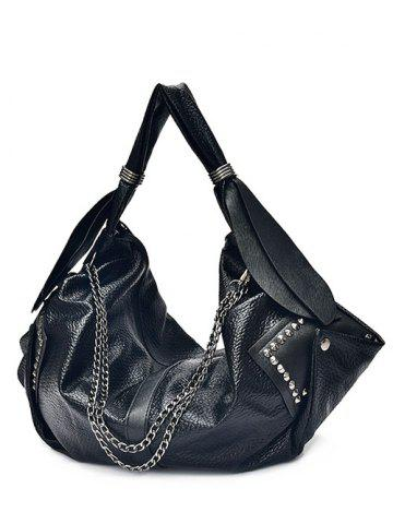 Outfit Rivets Chains Textured Leather Shoulder Bag